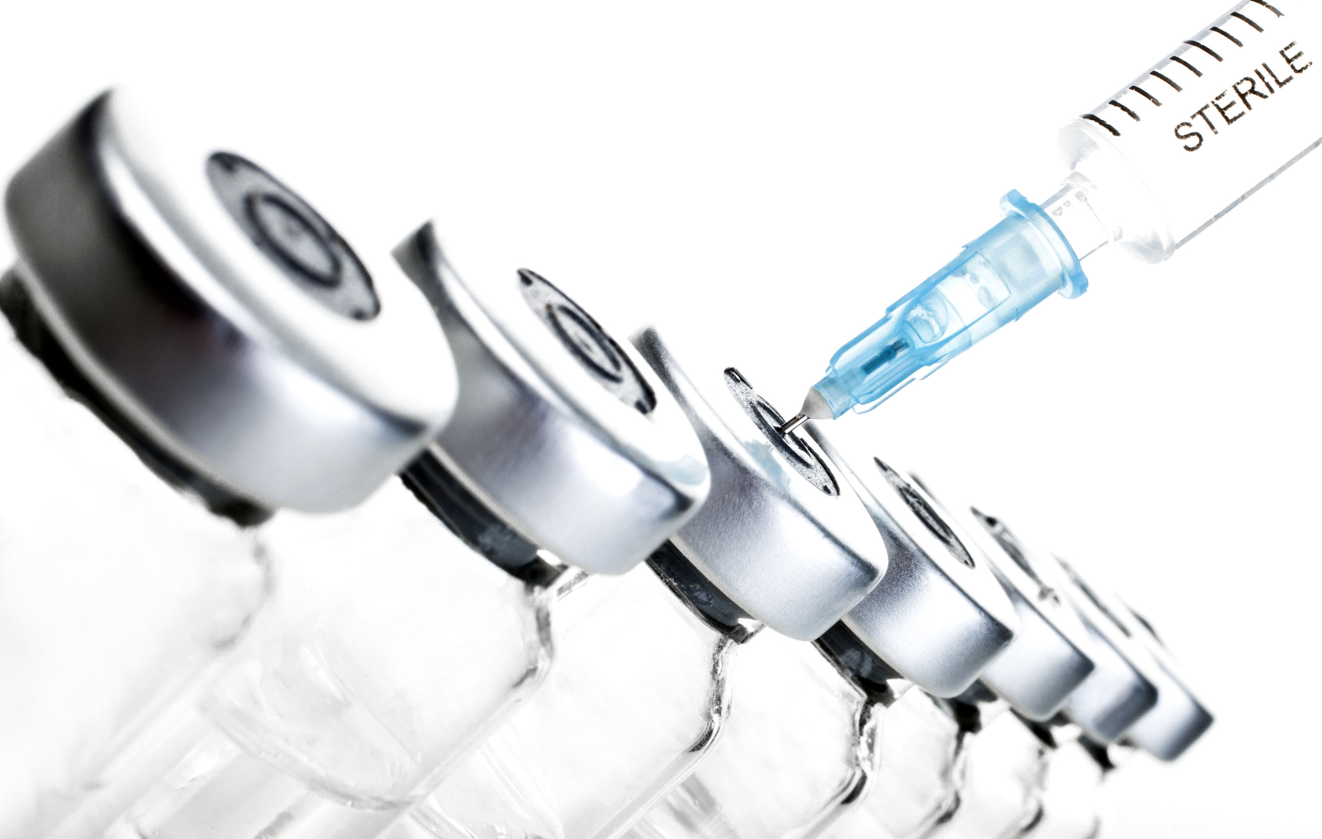 glass medicine vials and hualuronic collagen or flu syringe with TriMix injections for erectile dysfunction