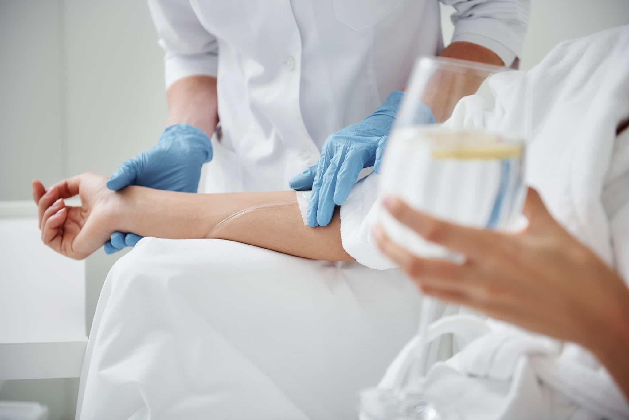 Patient Receiving IV Nutrient Therapy